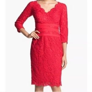 Cache Red Lace Sleeve Form Fitting Cocktail Dress